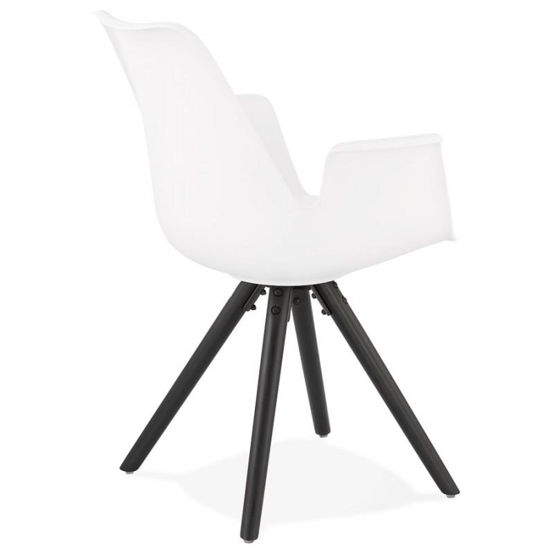 Chaise design scandinave avec accoudoirs ARUM pieds bois couleur noire (blanc) - image 43518