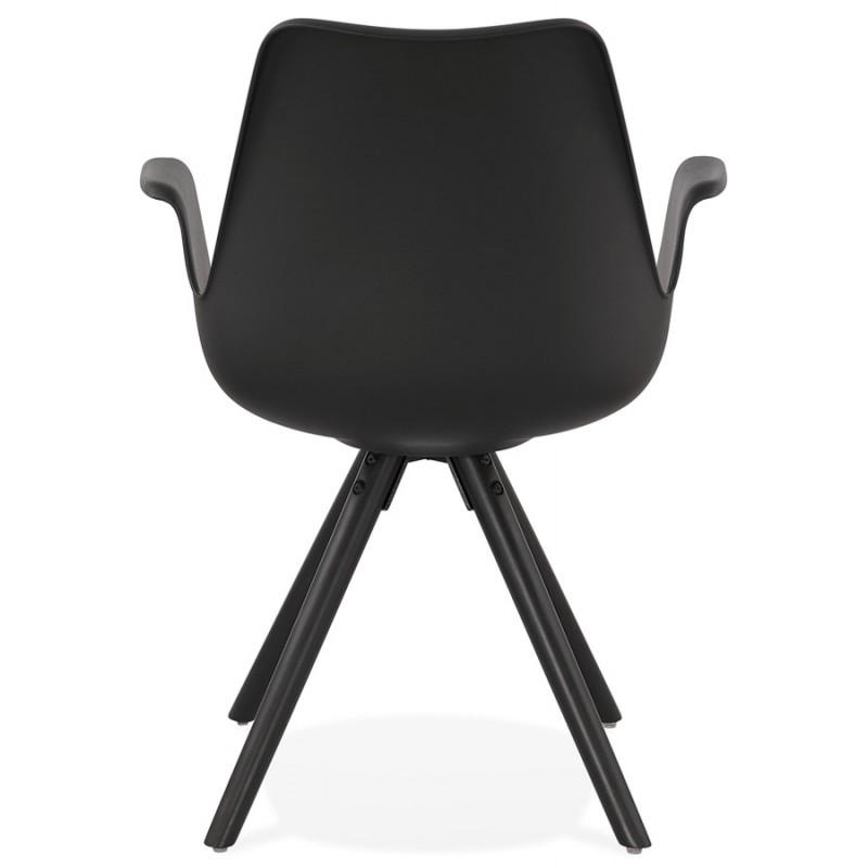 Chaise design scandinave avec accoudoirs ARUM pieds bois couleur noire (noir) - image 43528