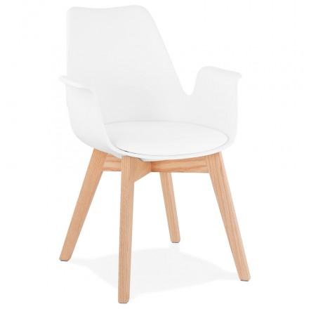 Skandinavischer Designstuhl mit KALLY Füßen Naturfarbenholz (weiß)