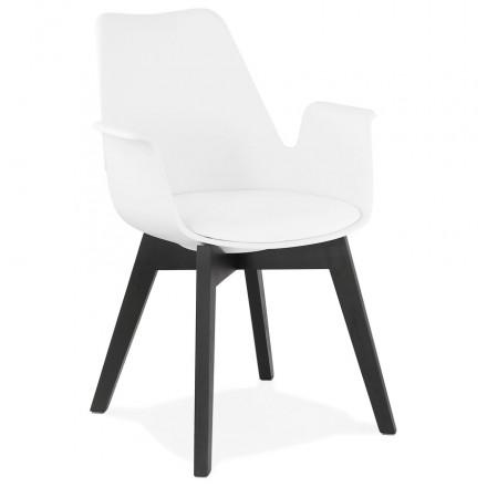 Silla de diseño escandinavo con pie de madera negro (blanco) KALLY