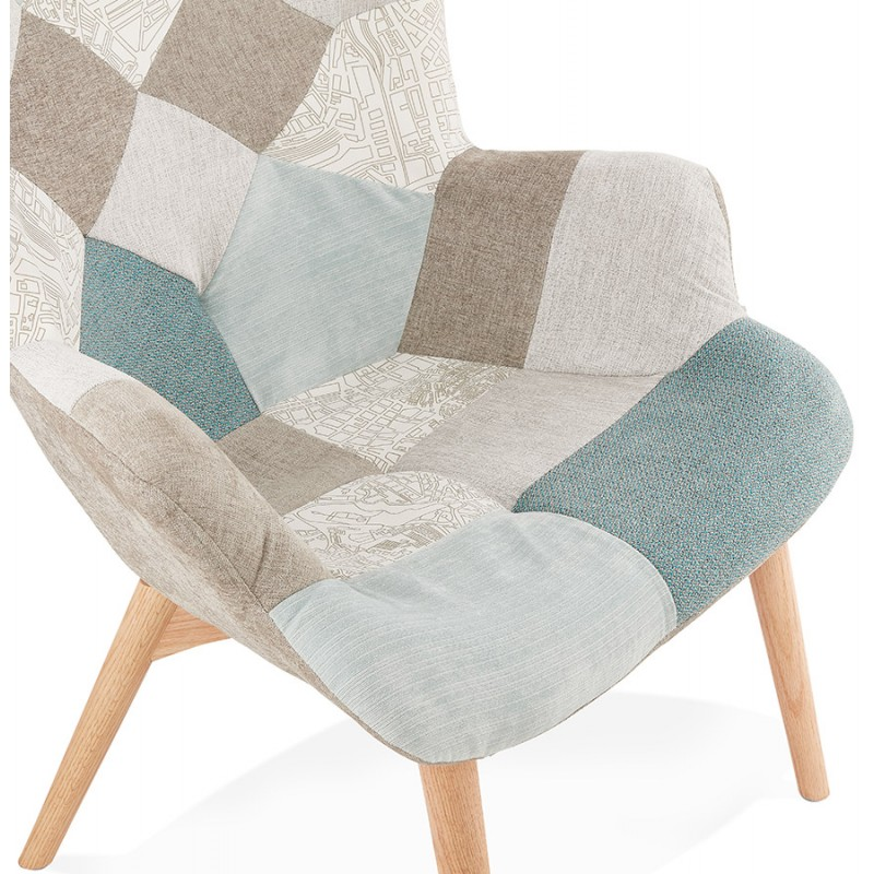 Fauteuil patchwork design scandinave LOTUS (bleu, gris, beige) - image 43578
