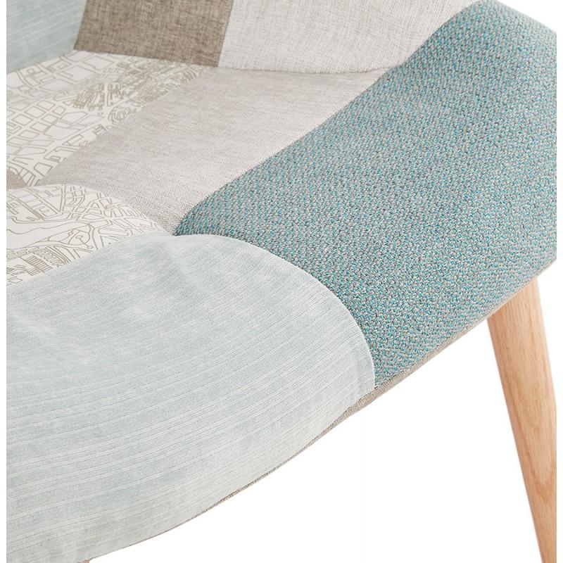 Fauteuil patchwork design scandinave LOTUS (bleu, gris, beige) - image 43580