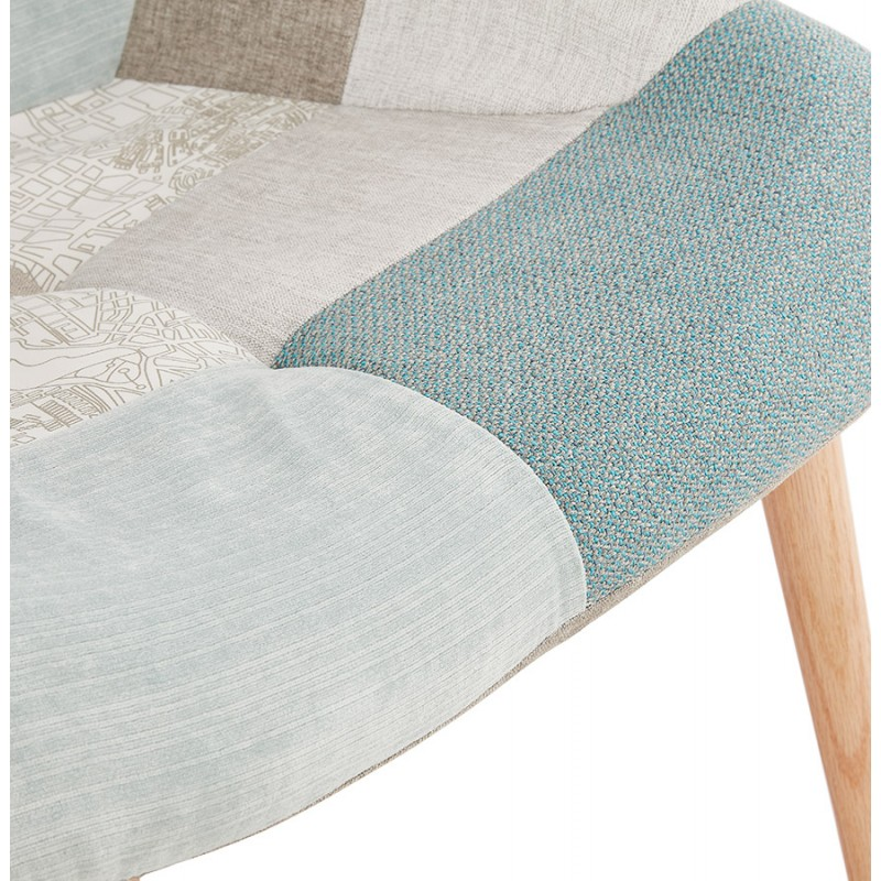 LOTUS skandinavisches Design Patchwork Stuhl (blau, grau, beige) - image 43580