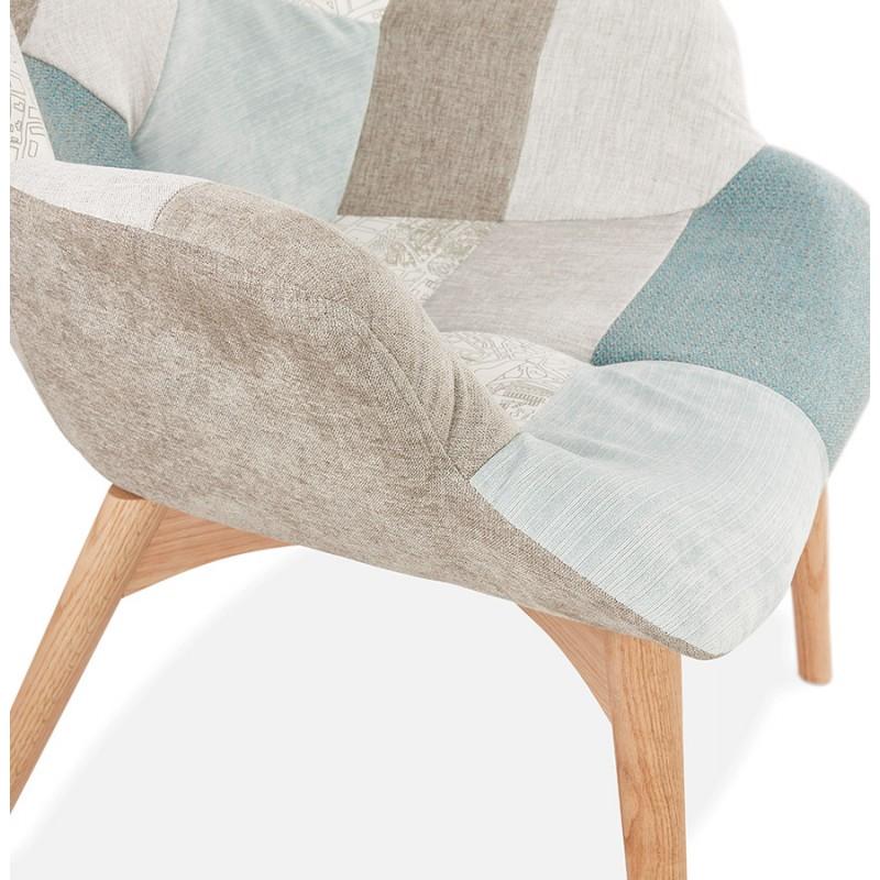 Fauteuil patchwork design scandinave LOTUS (bleu, gris, beige) - image 43582
