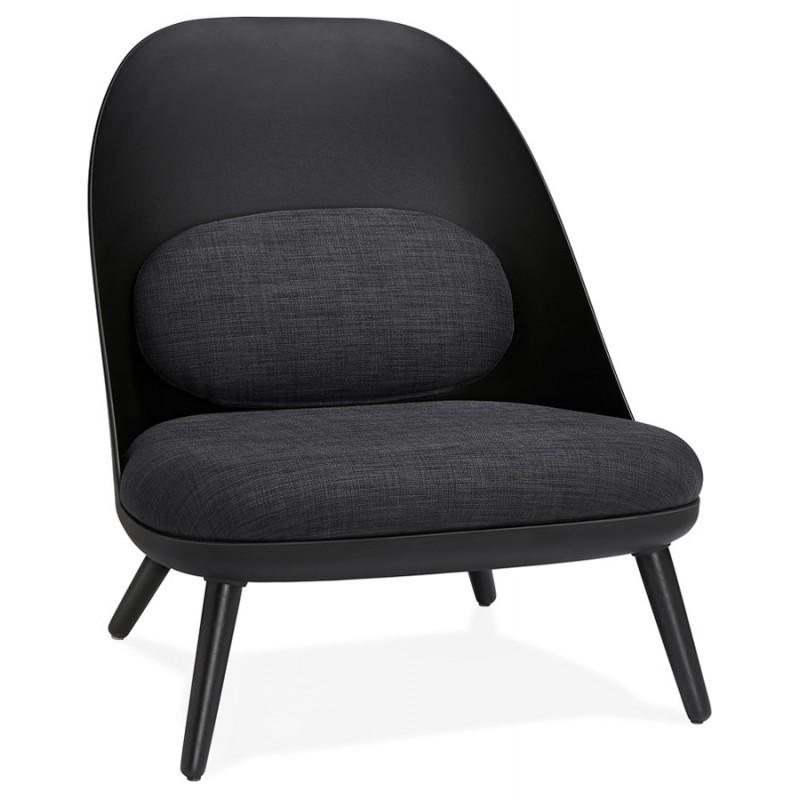 Fauteuil lounge design scandinave AGAVE (gris foncé, noir)