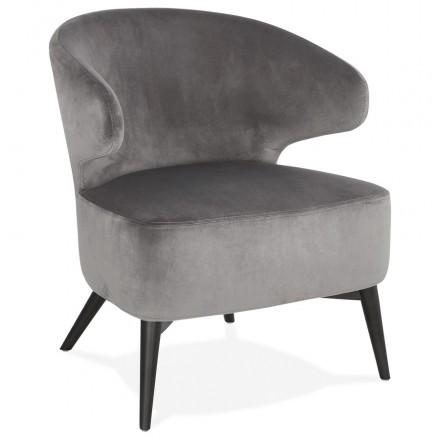 YASUO design chair in velvet feet black (grey)