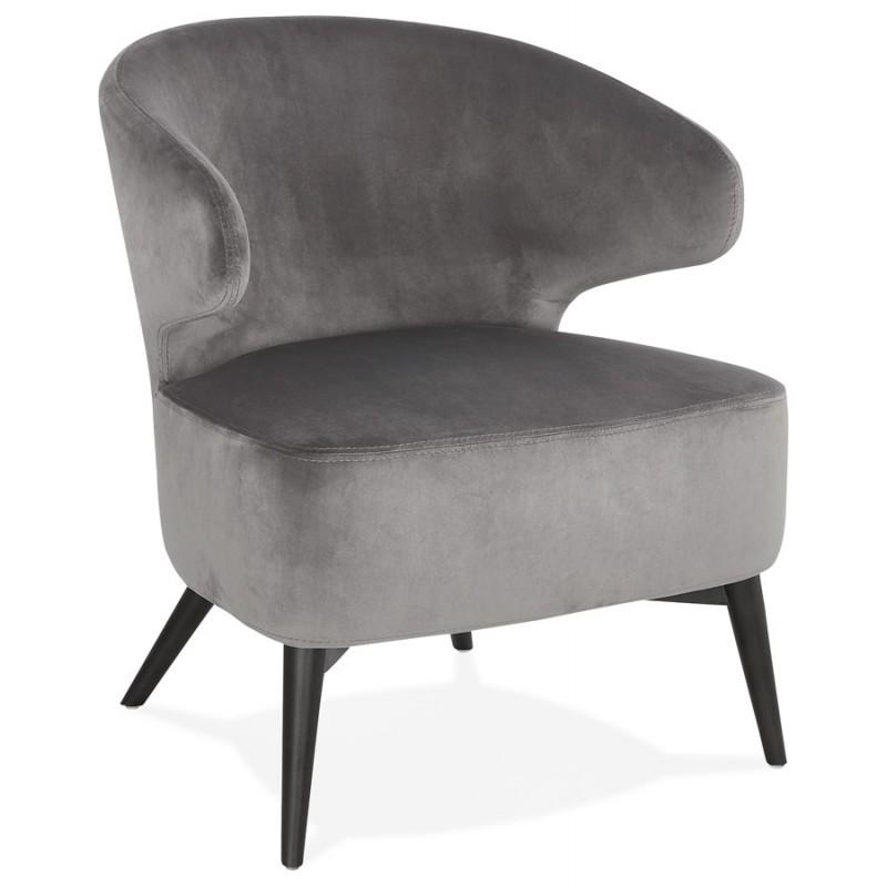 Fauteuil design YASUO en velours pieds bois couleur noire (gris) - image 43601