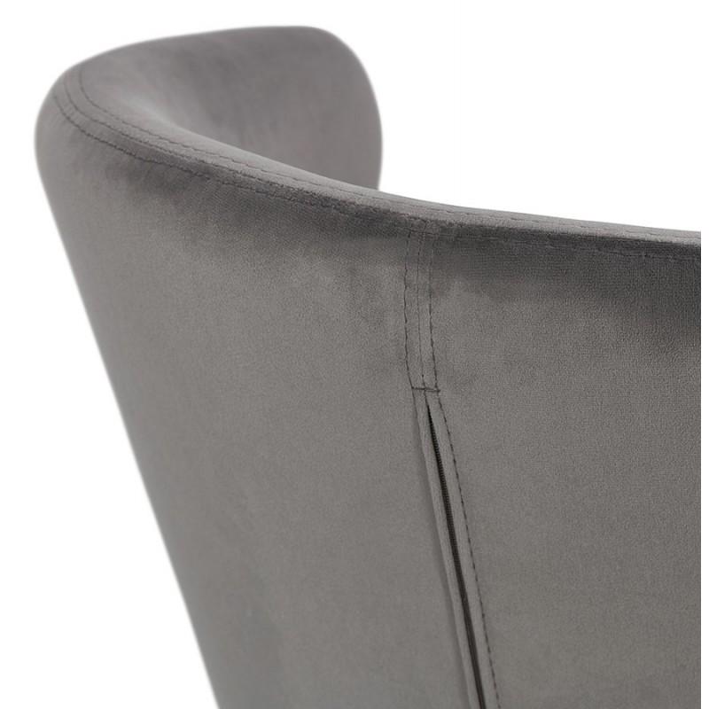 Fauteuil design YASUO en velours pieds bois couleur noire (gris) - image 43606