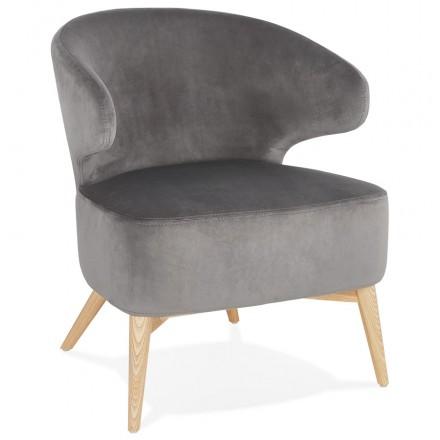 YASUO Designstuhl aus naturfarbenem Holzfußsamt (grau)