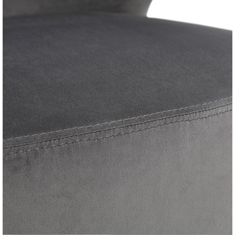 Fauteuil design YASUO en velours pieds bois couleur naturelle (gris) - image 43611