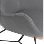 Rocking chair KABOSU en tissu (gris clair)