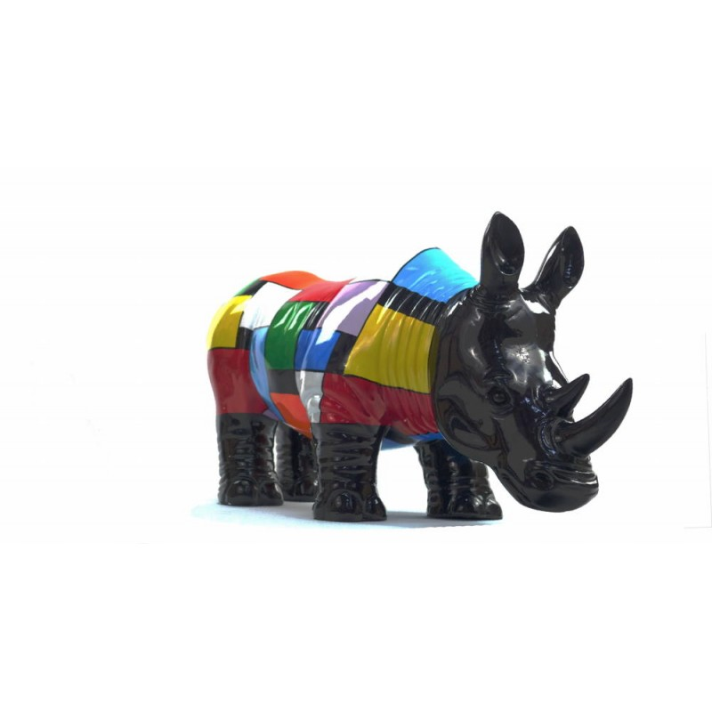 Statue decorative sculpture design RHINOCEROS in resin H34 cm (Multicolored) - image 43726