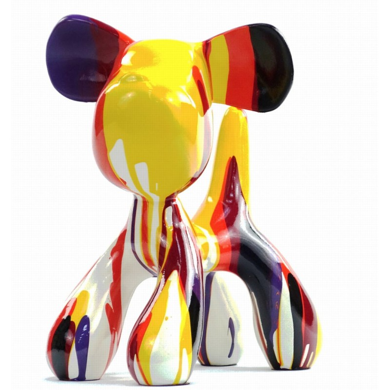 Set of 2 statues decorative sculptures design COUPLE OF CHIENS in resin H29 cm (Multicolored) - image 43747