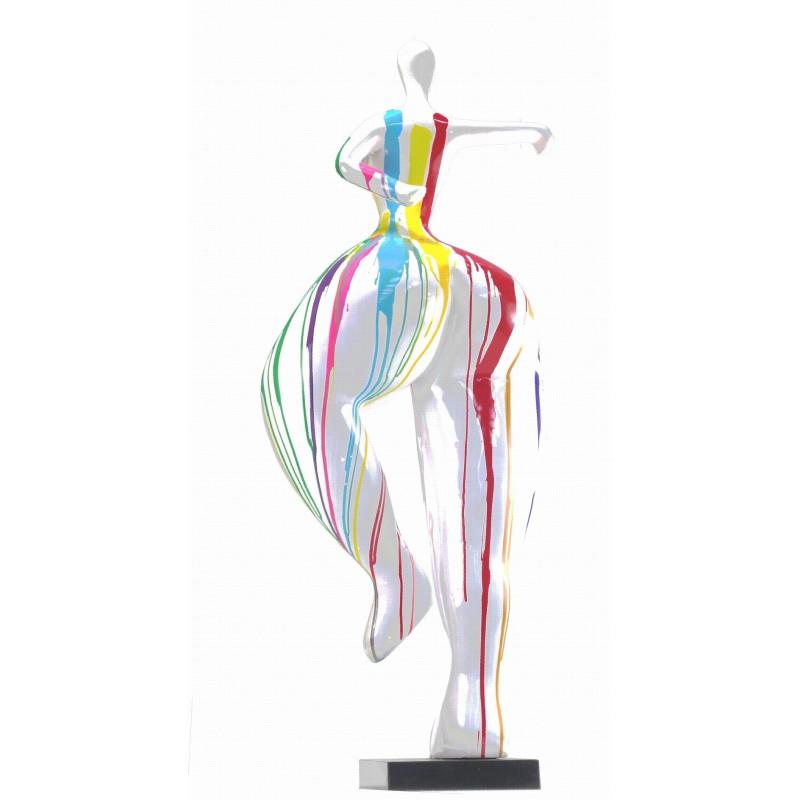 Statue sculpture décorative design FEMME ELEGANTE en résine H138 cm (Multicolore) - image 43754