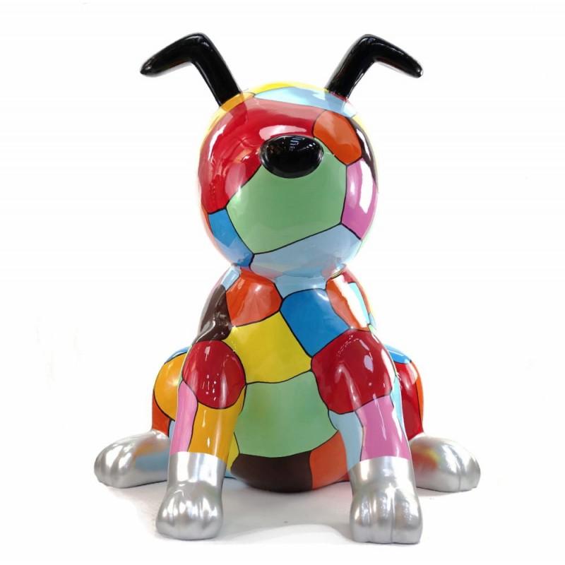 Statue decorative sculpture design CHIEN ASSIS POP ART in resin H100 cm (Multicolored) - image 43762