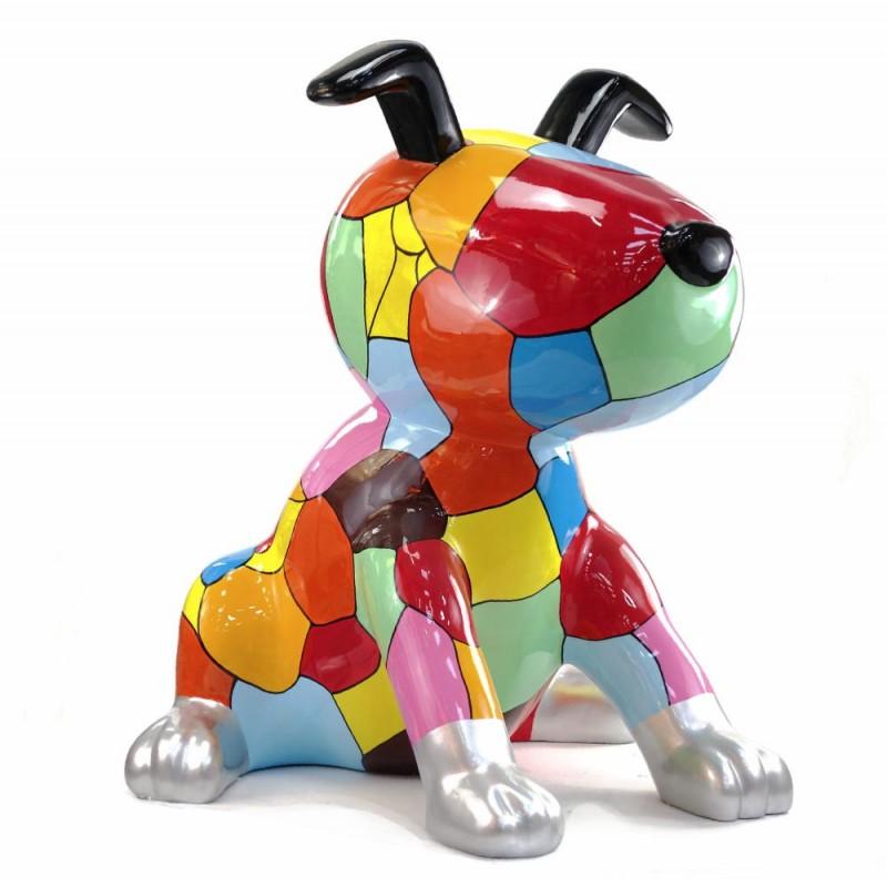 Diseño de escultura decorativa de la estatua CHIEN ASSIS POP ART en resina H100 cm (Multicolor) - image 43763