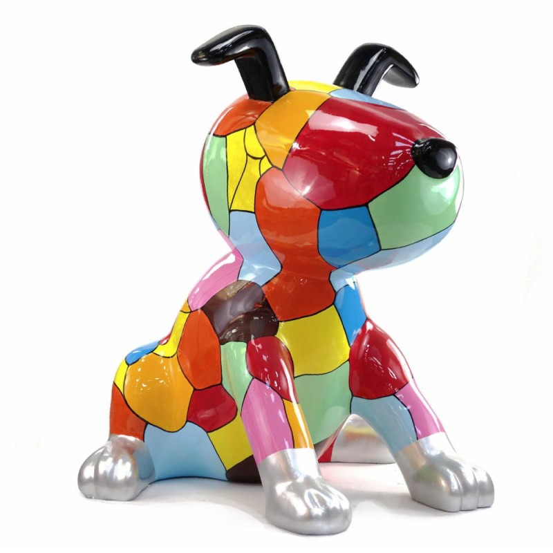 Statue decorative sculpture design CHIEN ASSIS POP ART in resin H100 cm (Multicolored) - image 43763