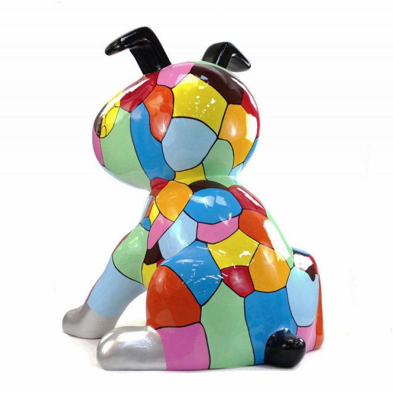 Diseño de escultura decorativa de la estatua CHIEN ASSIS POP ART en resina H100 cm (Multicolor) - image 43767