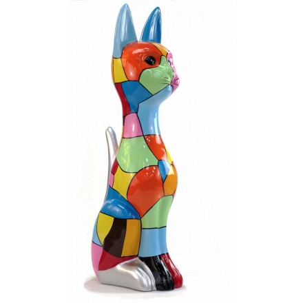 Statua scultura decorativa disegno CHAT DEBOUT POP ART in resina H100 cm (Multicolor)