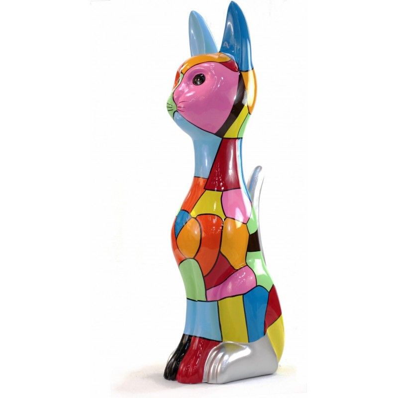 Statue sculpture décorative design CHAT DEBOUT POP ART en résine H100 cm (Multicolore) - image 43777