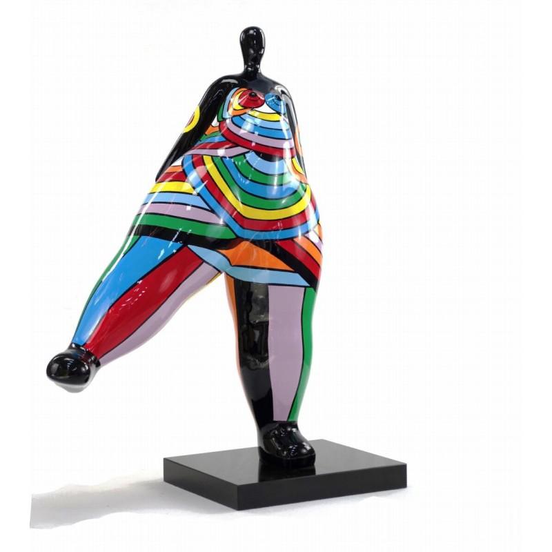 Statue dekorative Skulptur Design FRAU JAMBE LEVEE in Harz H80 cm (mehrfarbig) - image 43796