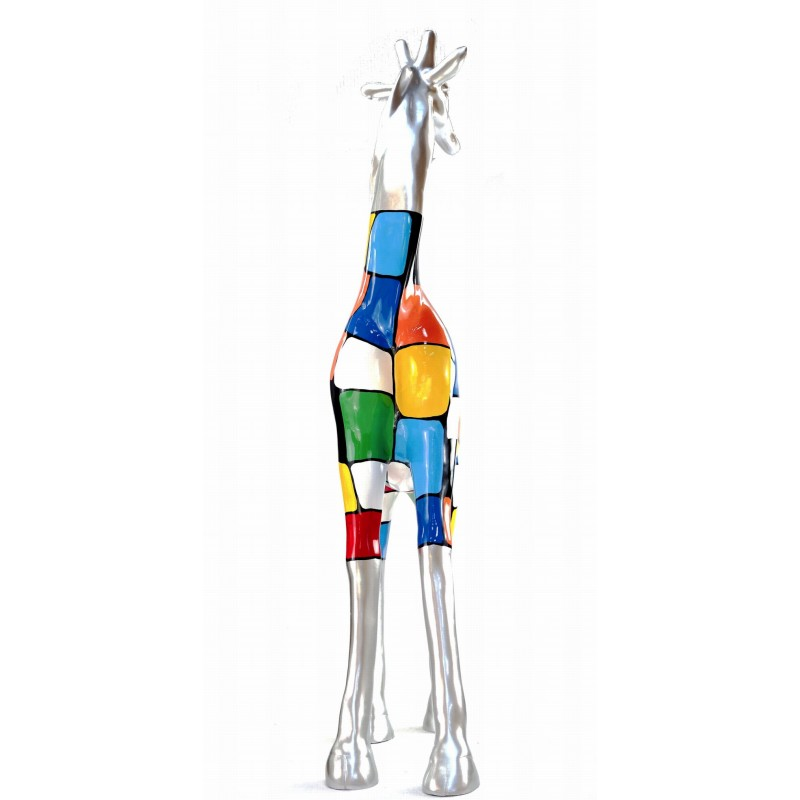 Statua scultura decorativa disegno GIRAFE resina H162cm (multicolore) - image 43799