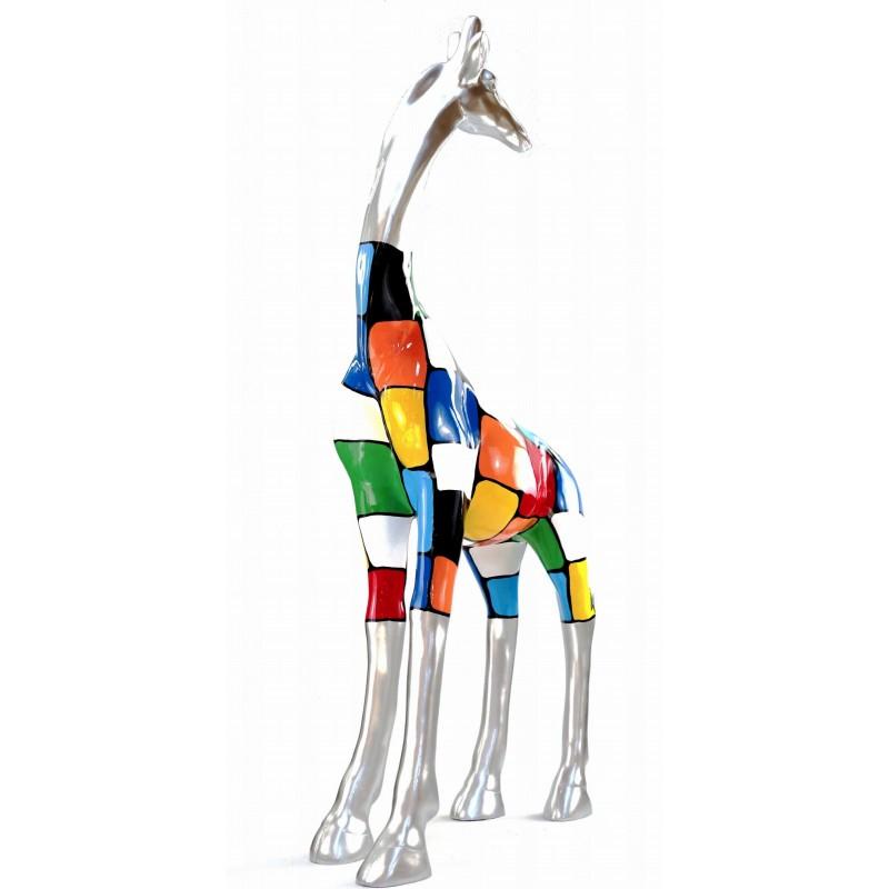 Statua scultura decorativa disegno GIRAFE resina H162cm (multicolore) - image 43800