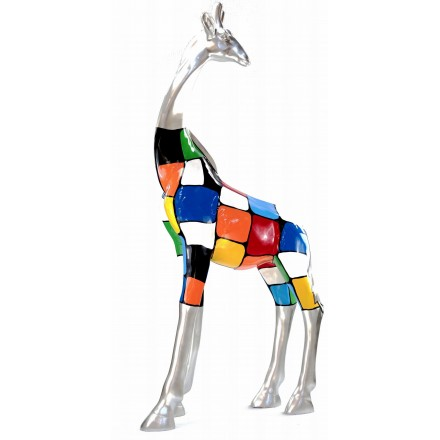 Statue sculpture décorative design GIRAFE en résine H162cm (Multicolore)