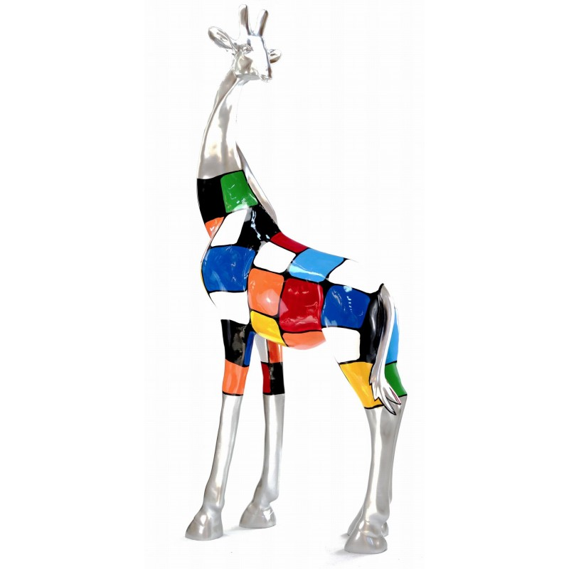 Statue decorative sculpture design GIRAFE resin H162cm (Multicolored) - image 43802