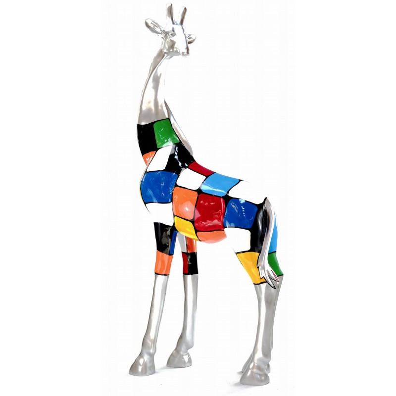 Statue dekorative Skulptur Design GIRAFE Harz H162cm (mehrfarbig) - image 43802