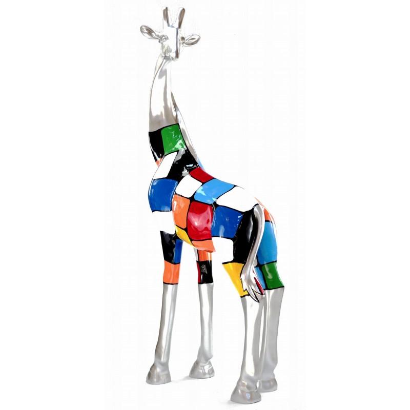 Estatua decorativa escultura diseño GIRAFE resina H162cm (Multicolor) - image 43803
