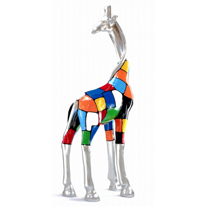 Statua scultura decorativa disegno GIRAFE resina H162cm (multicolore) - image 43805
