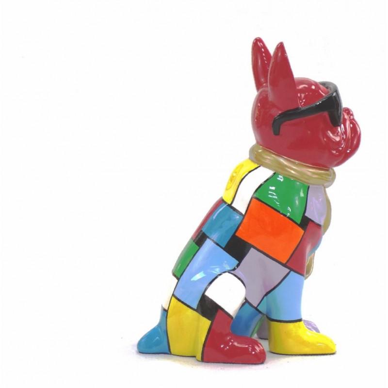 Statua disegno scultura decorativa CHIEN A CRAVATE DOREE in resina H36 cm (Multicolor) - image 43816