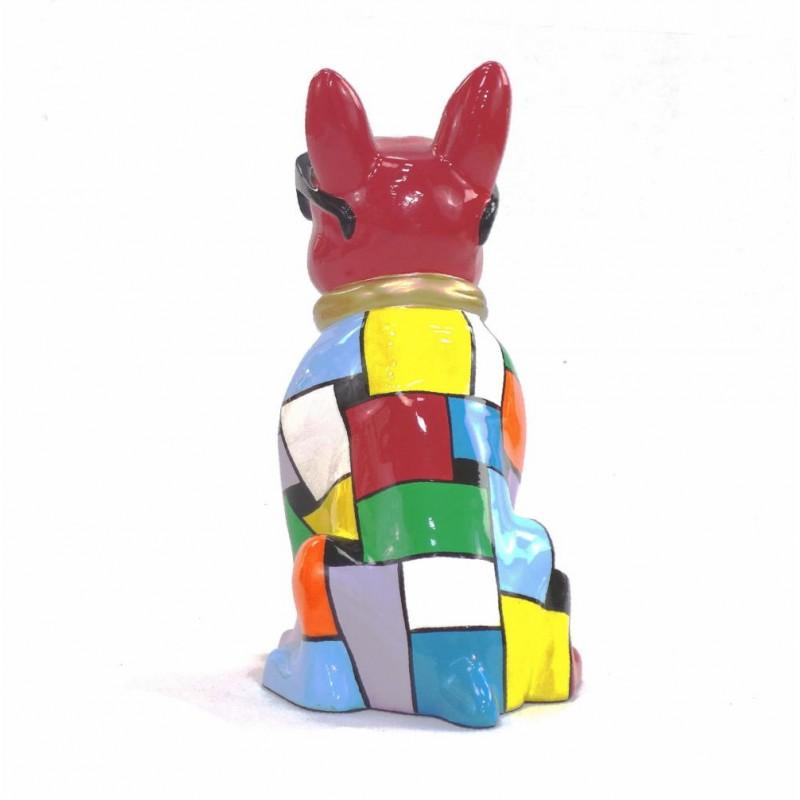 Statue sculpture décorative design CHIEN A CRAVATE DOREE en résine H36 cm (Multicolore) - image 43817
