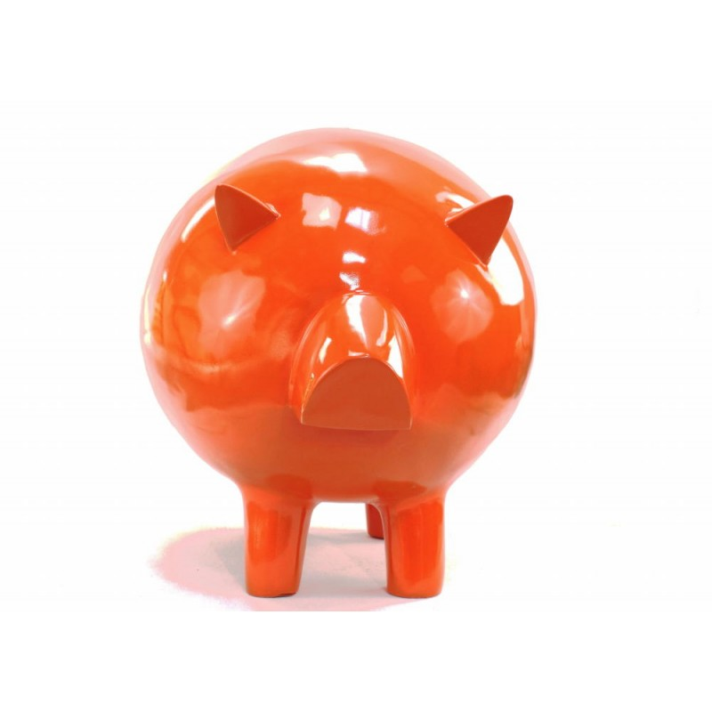 Statue decorative sculpture design COCHON in resin H65 cm (Orange) - image 43834