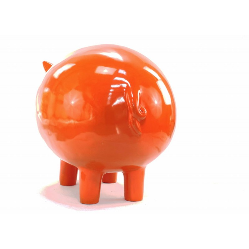 Statue decorative sculpture design COCHON in resin H65 cm (Orange) - image 43836