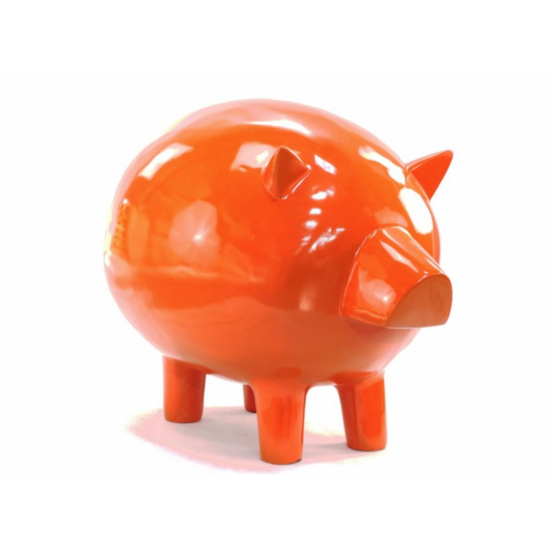 Statue decorative sculpture design COCHON in resin H65 cm (Orange) - image 43838