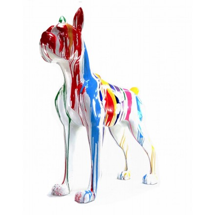 Statue sculpture décorative design CHIEN DEBOUT FLASHY en résine H150 cm (Multicolore)