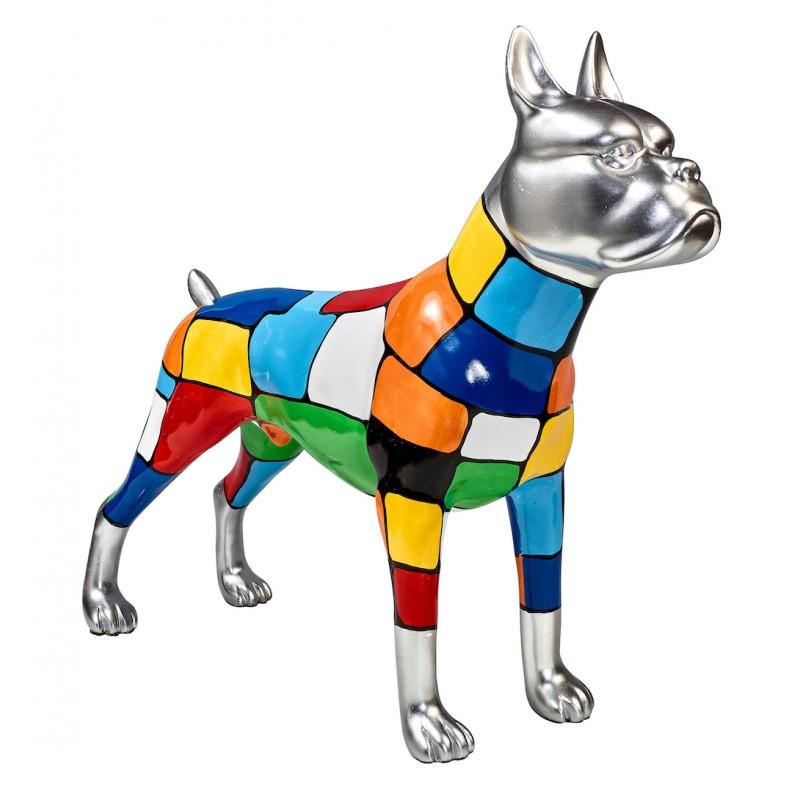 Statua scultura decorativa disegno CHIEN DEBOUT POP ART in resina H45 cm (Multicolor) - image 43849