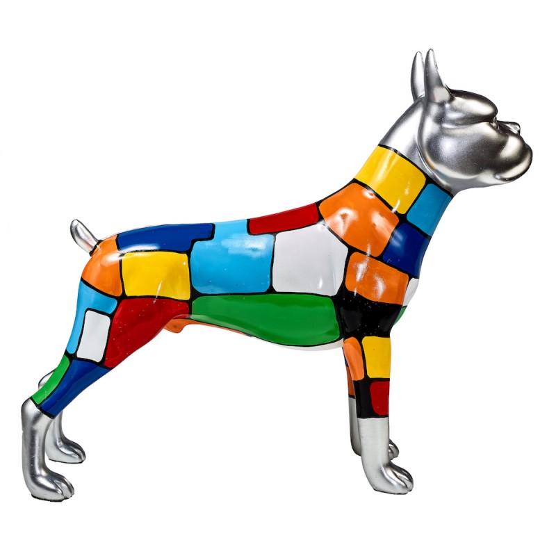 Statua scultura decorativa disegno CHIEN DEBOUT POP ART in resina H45 cm (Multicolor) - image 43850