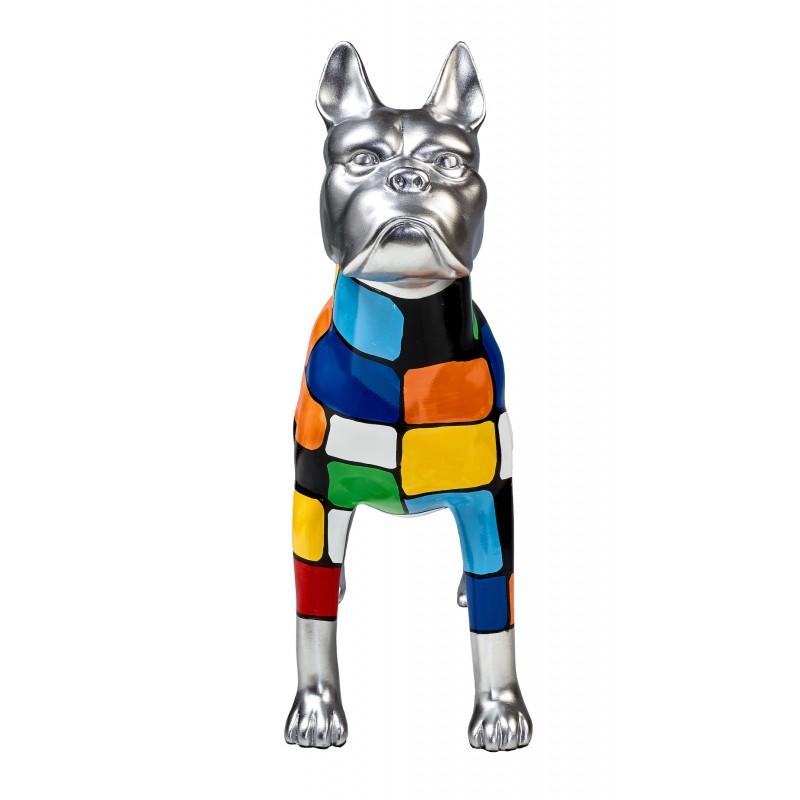 Statua scultura decorativa disegno CHIEN DEBOUT POP ART in resina H45 cm (Multicolor) - image 43851