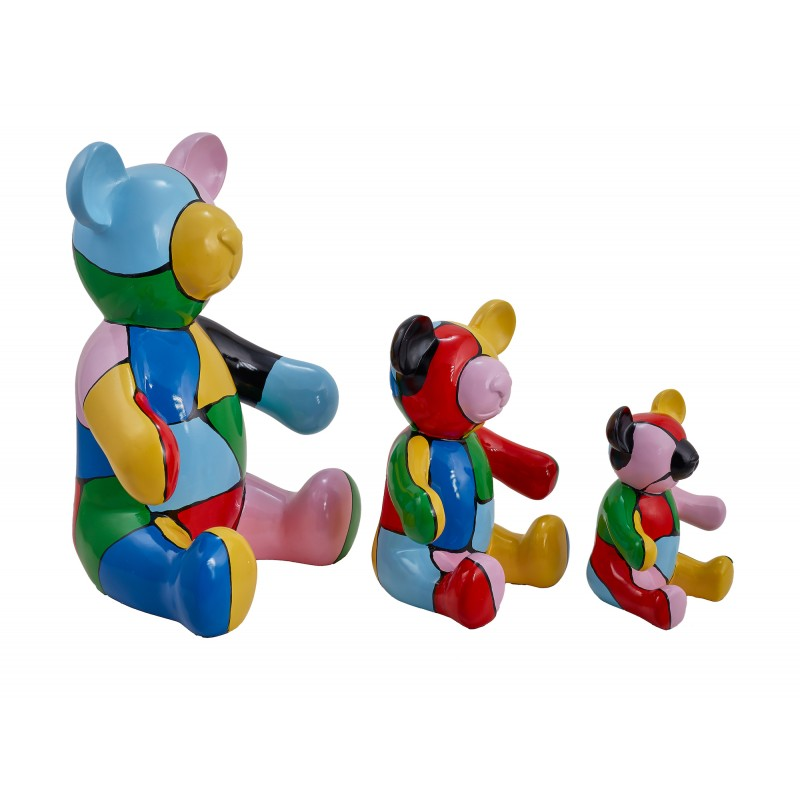 Set di 3 statue sculture decorative disegno NOUNOURS resina H46/29/21 cm (Multicolor)