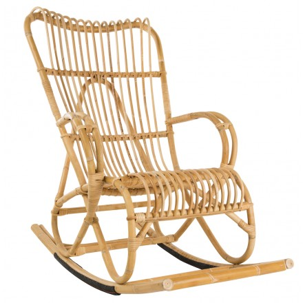 Carne a dondolo in stile vintage in rattan naturale