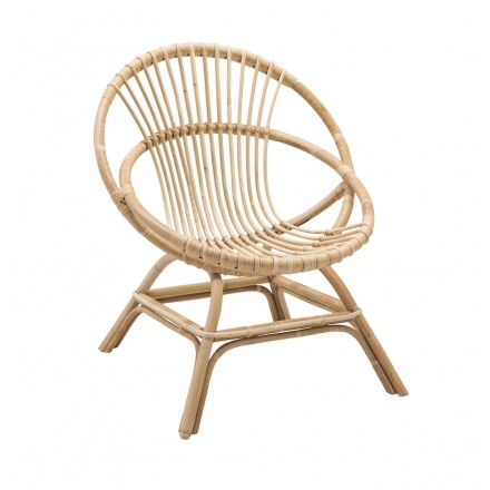 Sedia in rattan naturale in stile vintage Brigitte