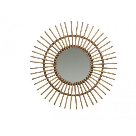 Espejo de ratán natural estilo vintage SOLEIL