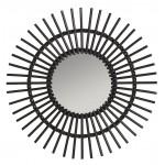Espejo en estilo vintage rattan SOLEIL (negro)