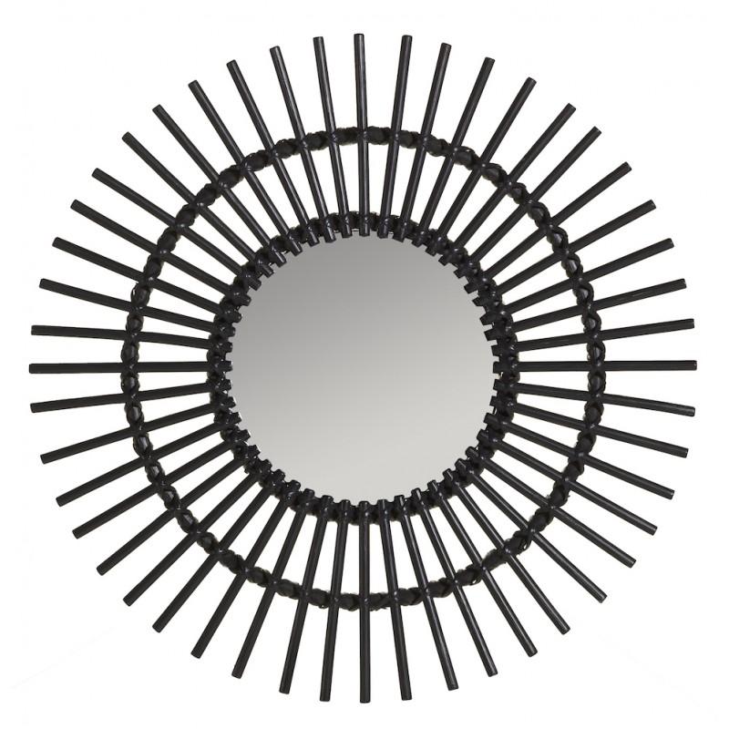 Miroir en rotin SOLEIL style vintage (noir) - image 44338