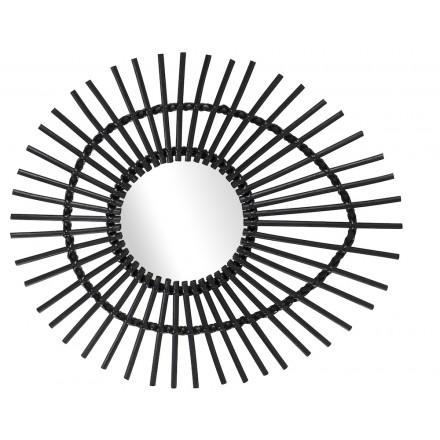 Specchio in rattan ELLIPSE in stile vintage (nero)