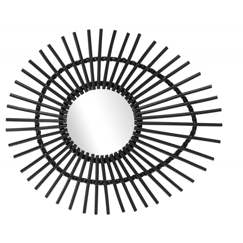 Espejo de ratán ELLIPSE de estilo vintage (negro) - image 44341