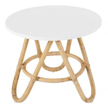 Table basse, bout de canapé DIABOLO en rotin (Ø 50 cm) (blanc)